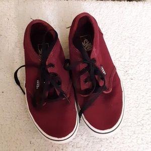 Vans burgundy Canvas Sneakers Sz 2 Youth